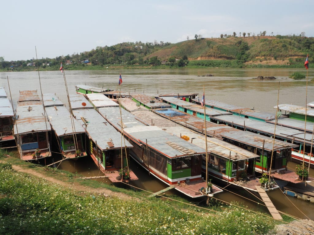 Slow Boats at Huay Xai Pier
