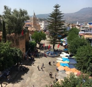 aerial view of Chefchaouen's main square