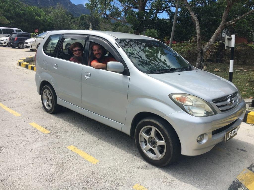 Driving around Langkawi in our Rental Car