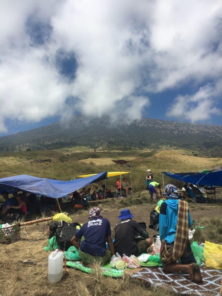 Lunch break during trekking Rinjani