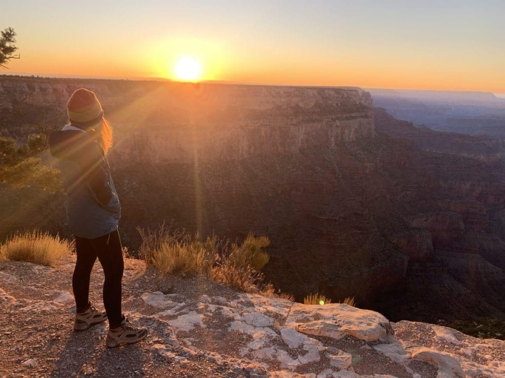 Woman watching Grand Canyon Sunset