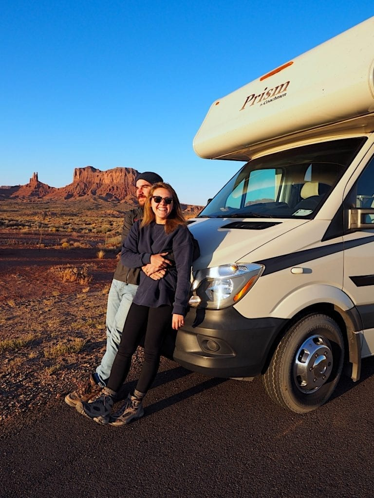 Man and Woman on Arizona Road Trip in an RV