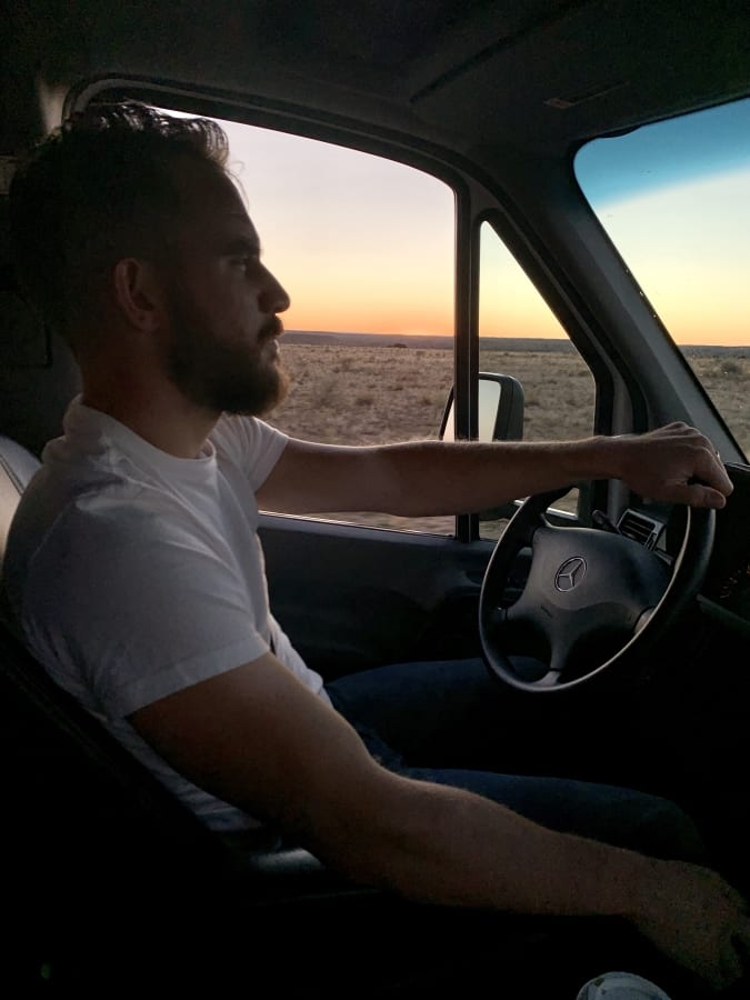 Arizona road trip into the sunset